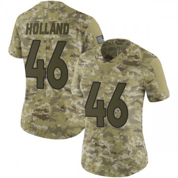 Women's Denver Broncos Jeff Holland Camo Limited 2018 Salute to Service Jersey By Nike